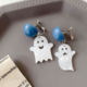 Blue Circle Ghost Clip On Earring