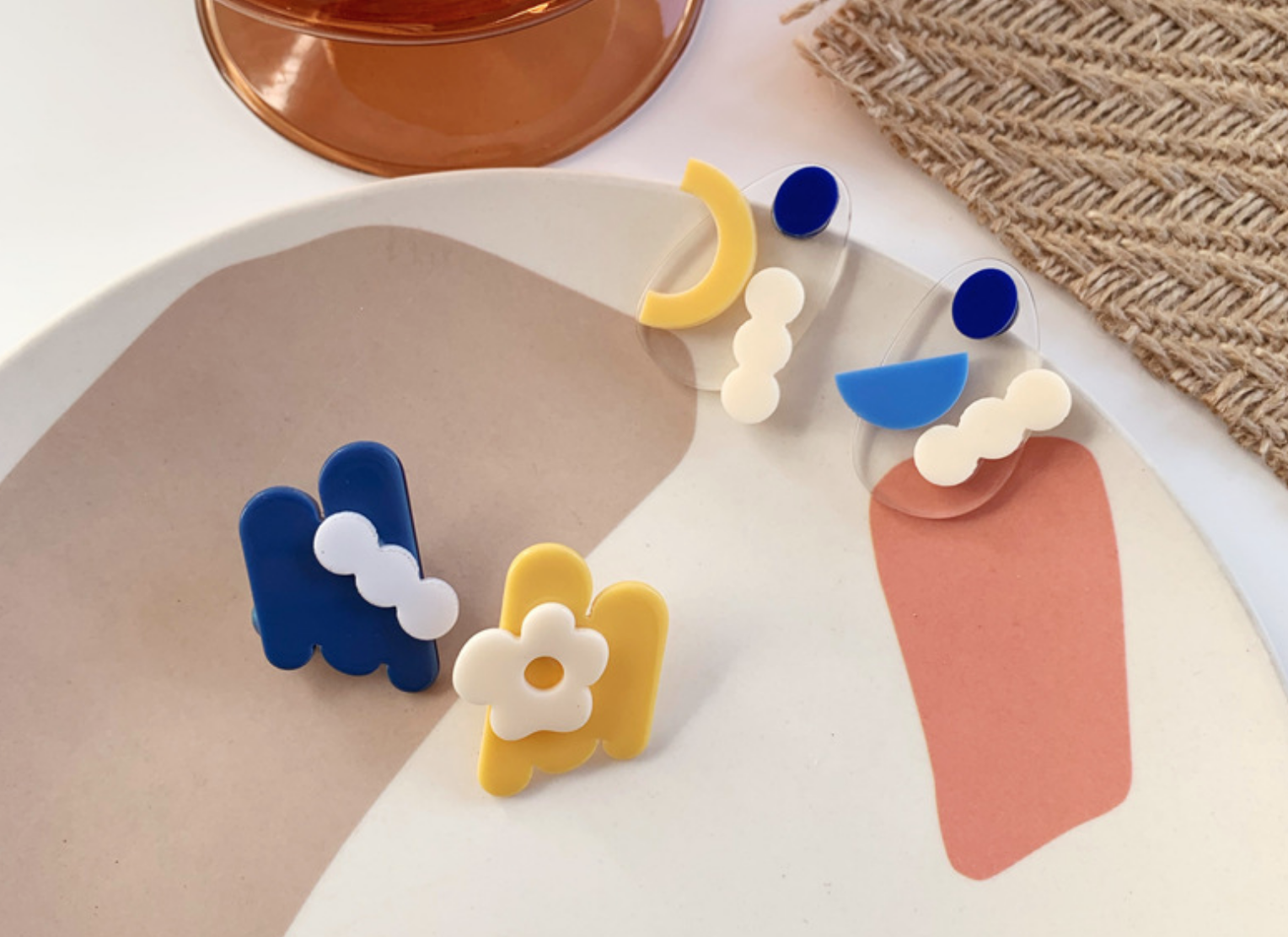 Yellow/White/Blue on Clear Earring
