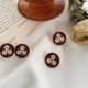 Three White Flower Round Earring