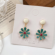 Green Flower White Circle Earring