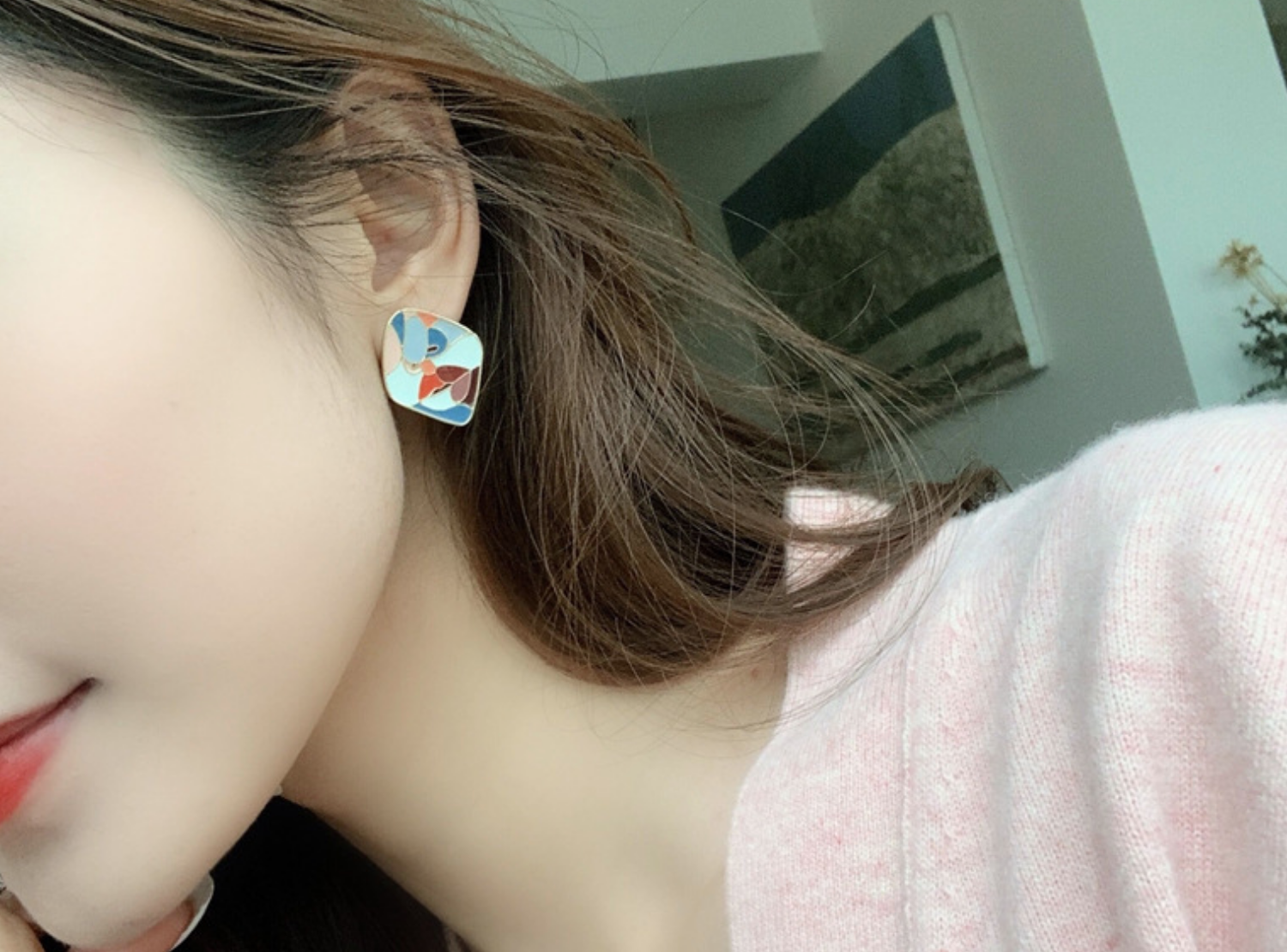 Colorful Blue Face Earring