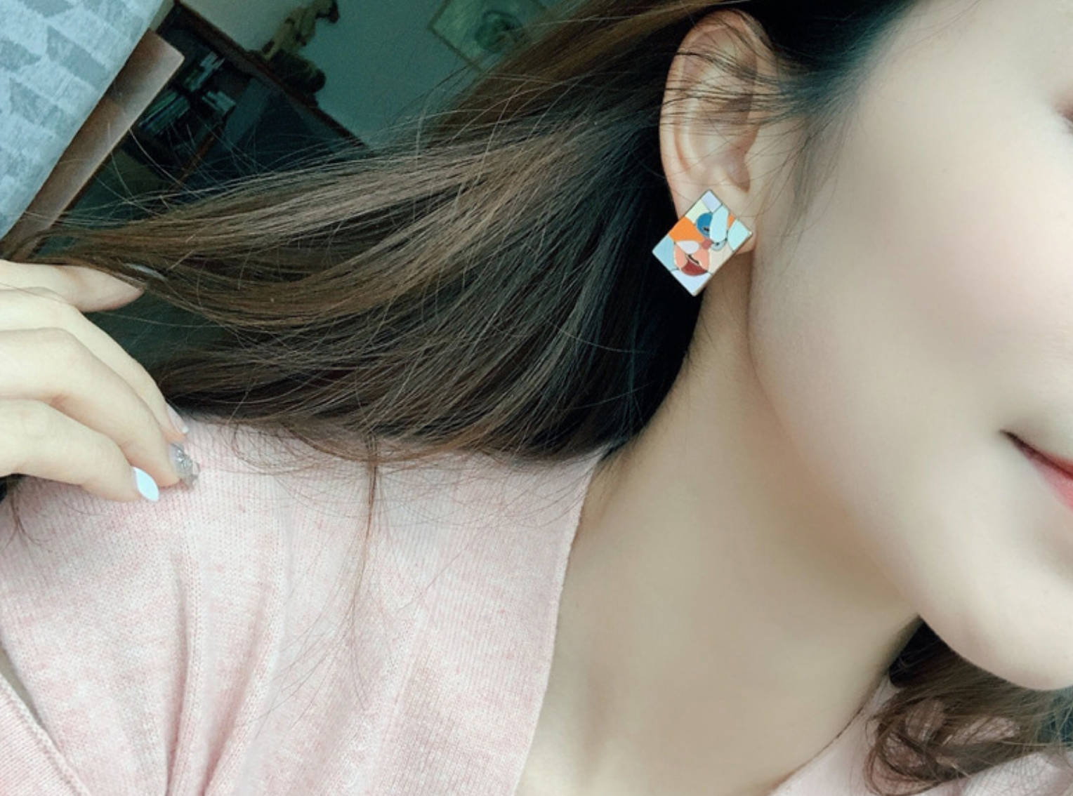 Rectangle Orange Face Earring