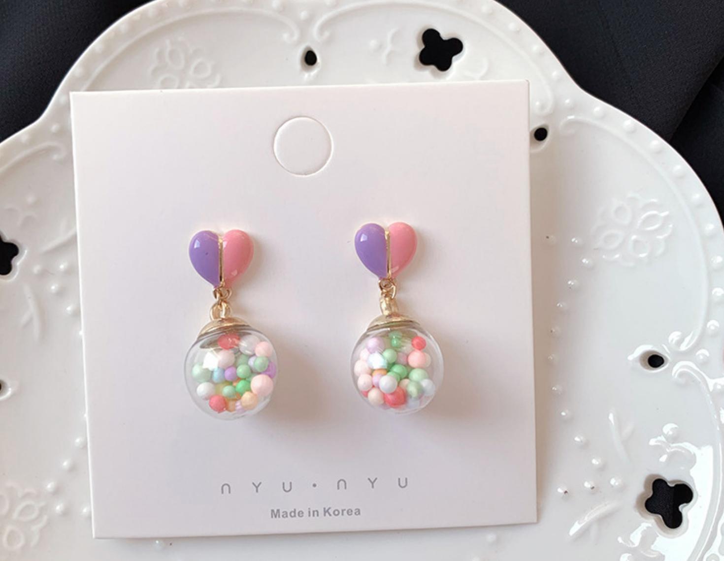 Heart Bubble Ball Earring