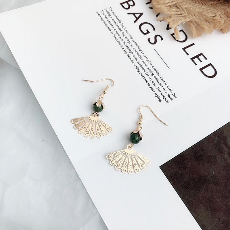 Green Fan Earring