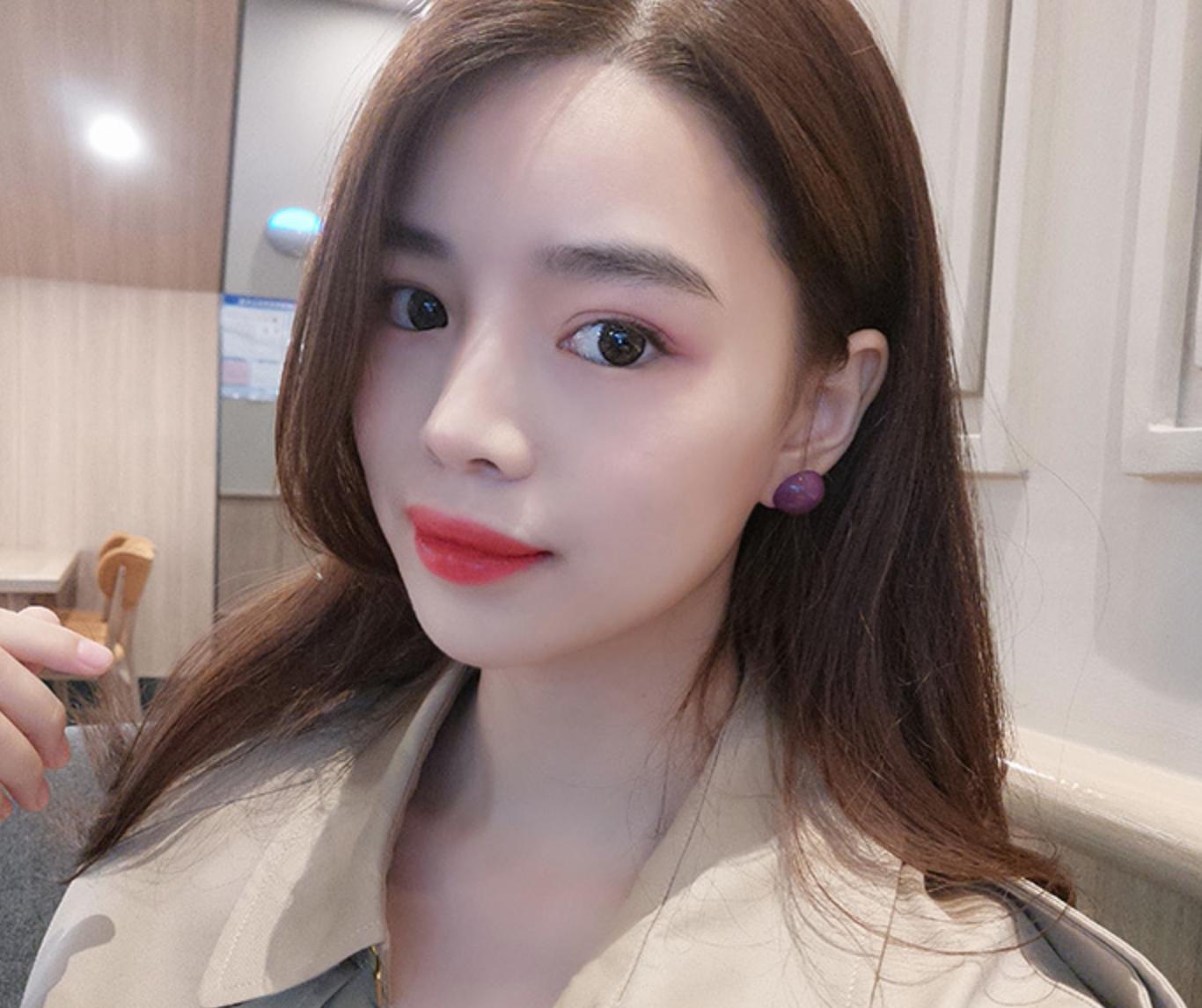 Purple Dot Earring