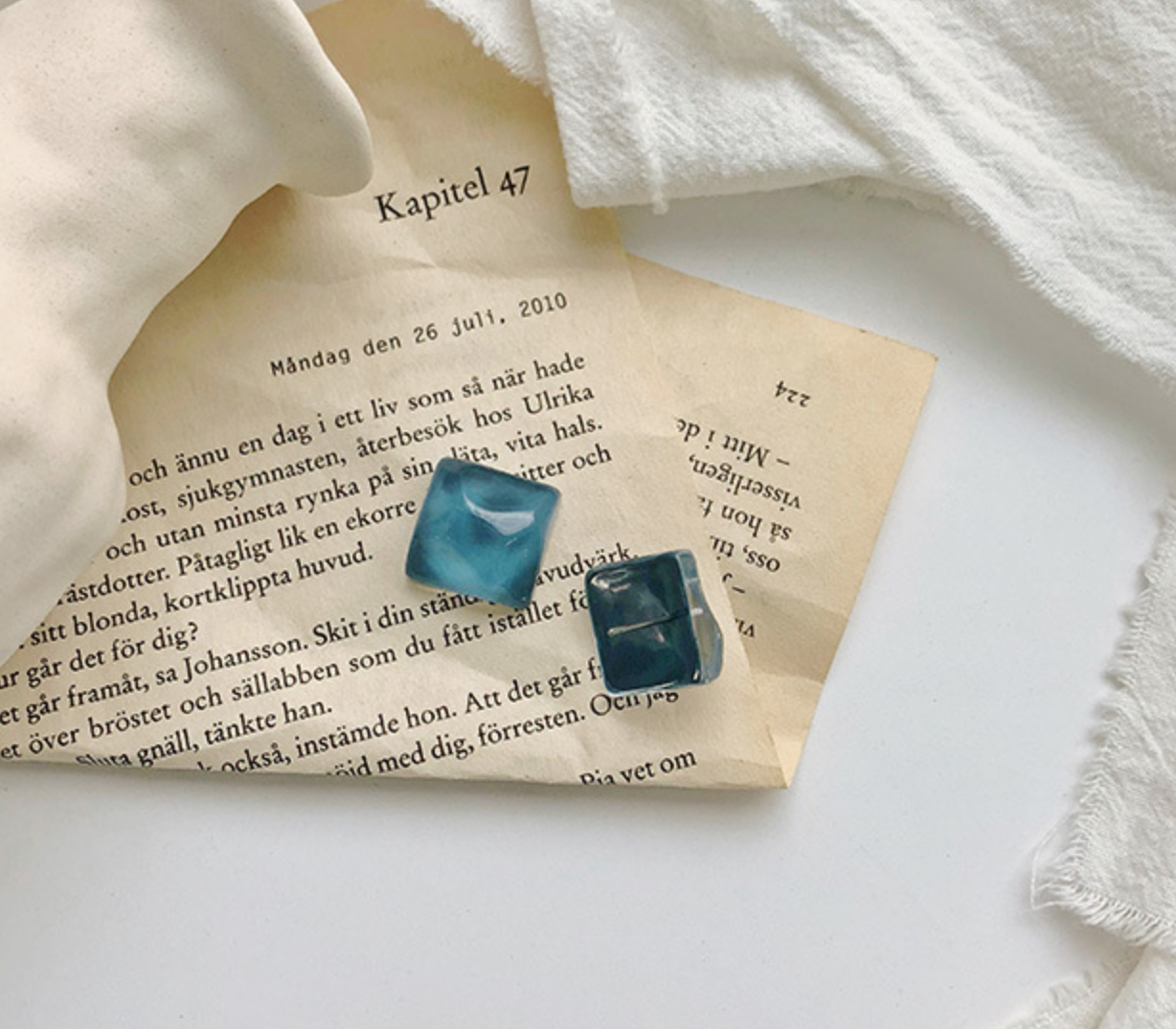 Blue Square Glass Earring