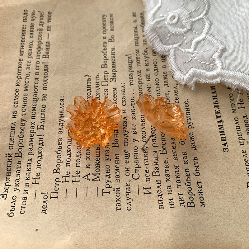 Orange Flower Clear Earring