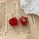 Red Flower Clear Earring