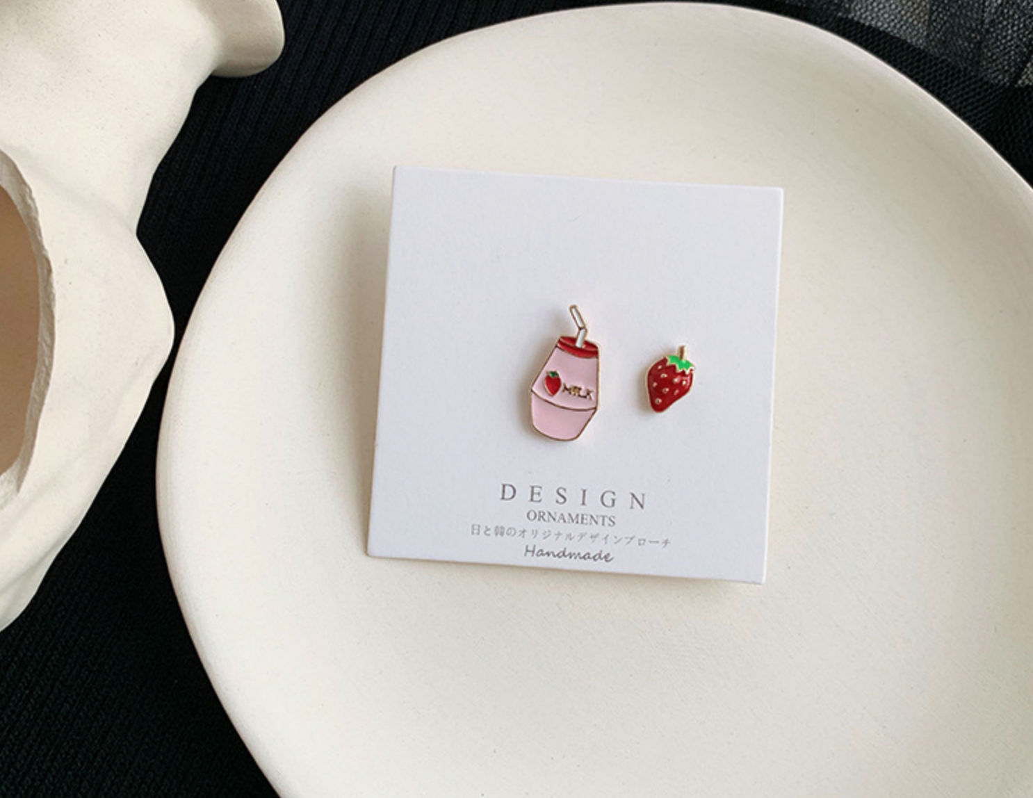 Strawberry and Milk Clip On Earring