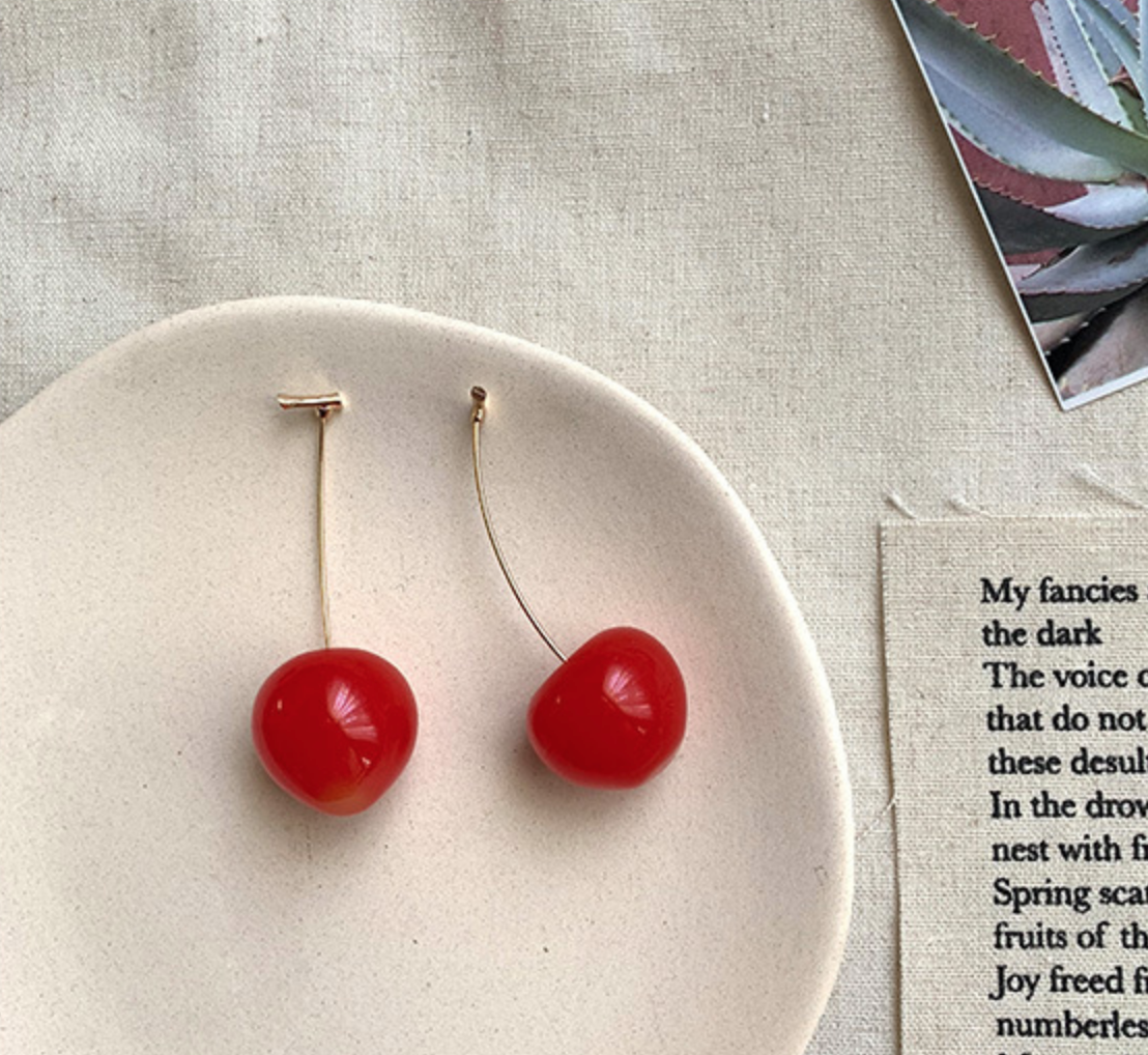Bright Red Ruby Cherry Earring