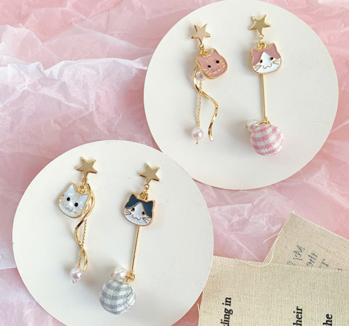 Pink and White Cat Earring