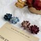 Navy Fabric Flower Earring