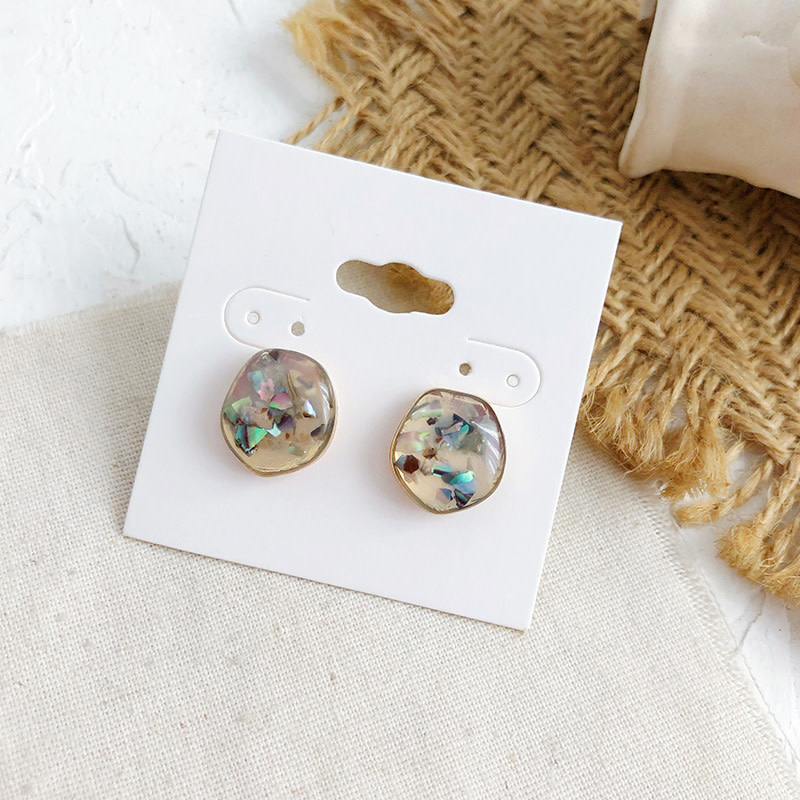 Marble Circle Brown Earring