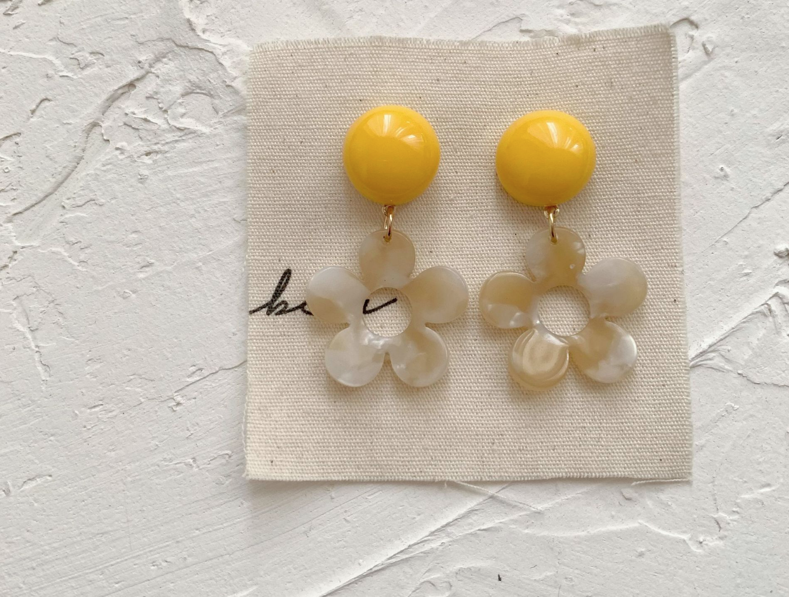 Yellow Dot and Flower Earring