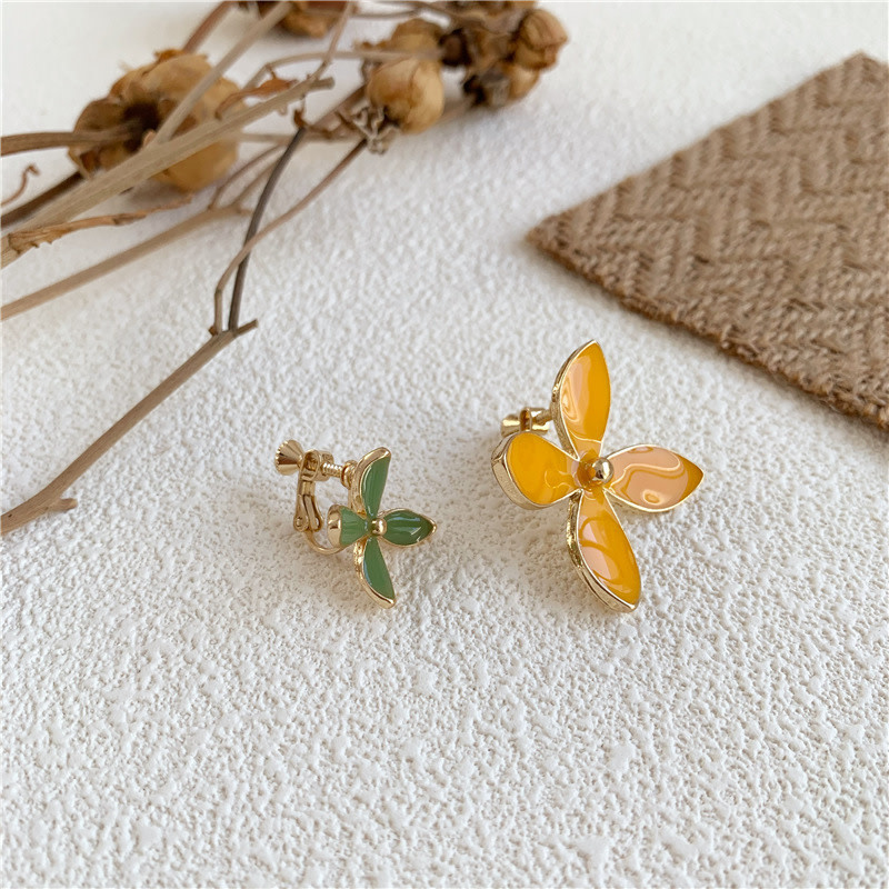 Green/Yellow Four Petal Clip On Earring