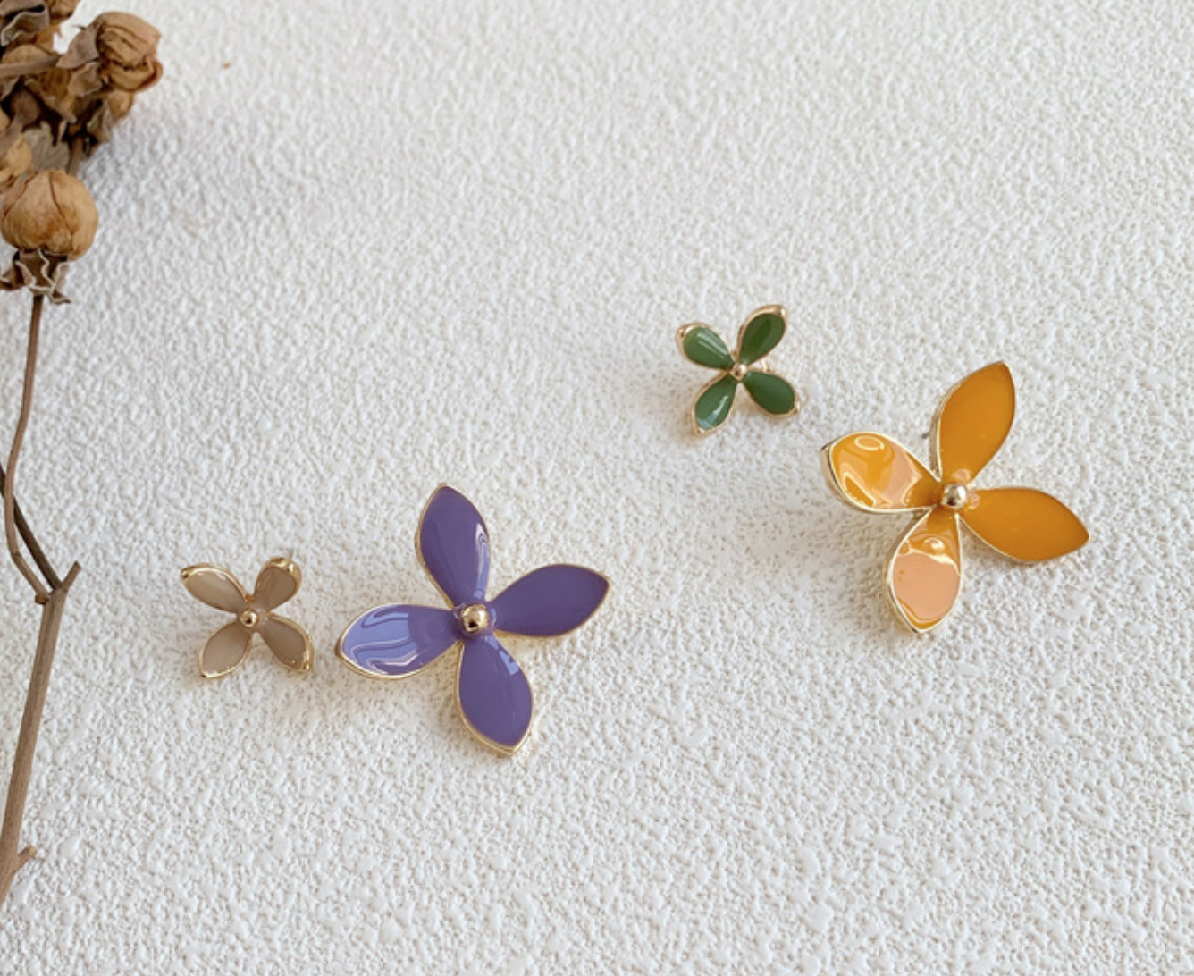 Green/Yellow Four Petal Earring