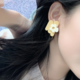 White Flower on Yellow Earring