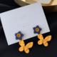 Blue Flower Yellow Butterfly Earring