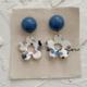 Blue Dot and Flower Earring