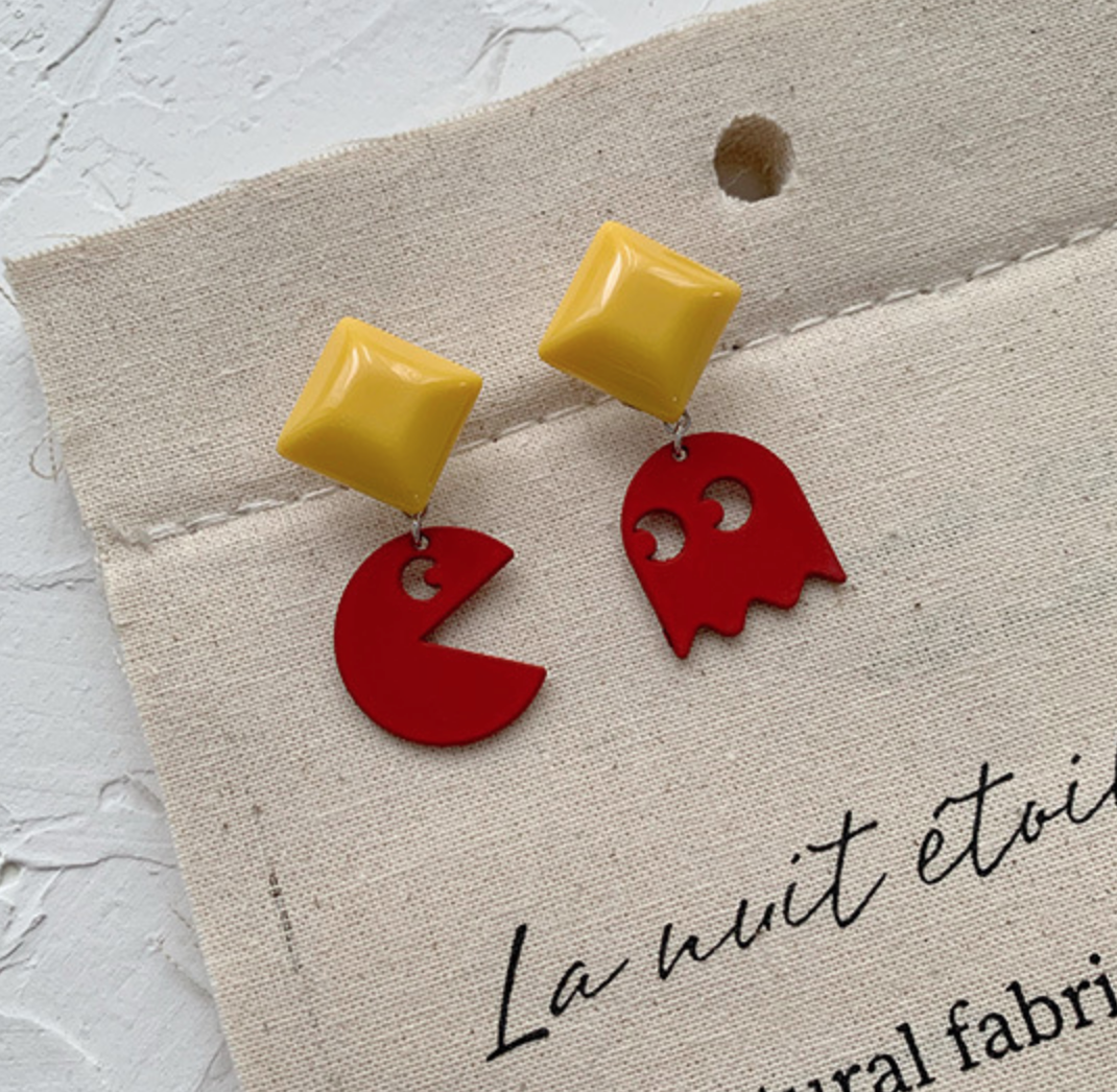 Red Pacman Earring