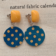 Yellow Dot on Blue Clip On  Earring