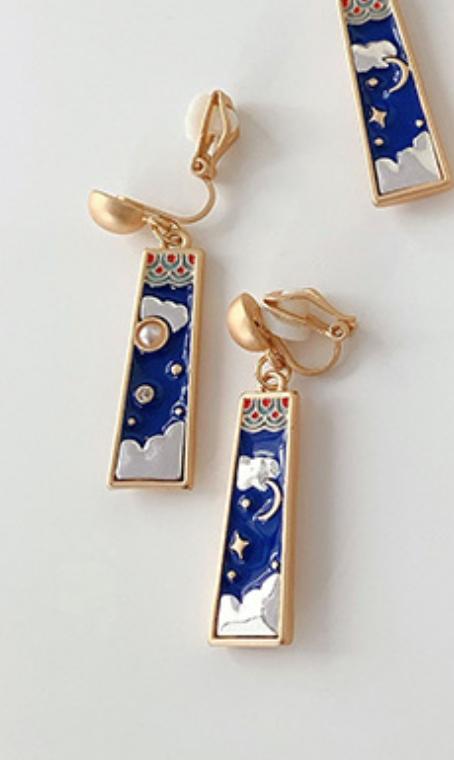 Blue Rectangle Moon Clip On Earring