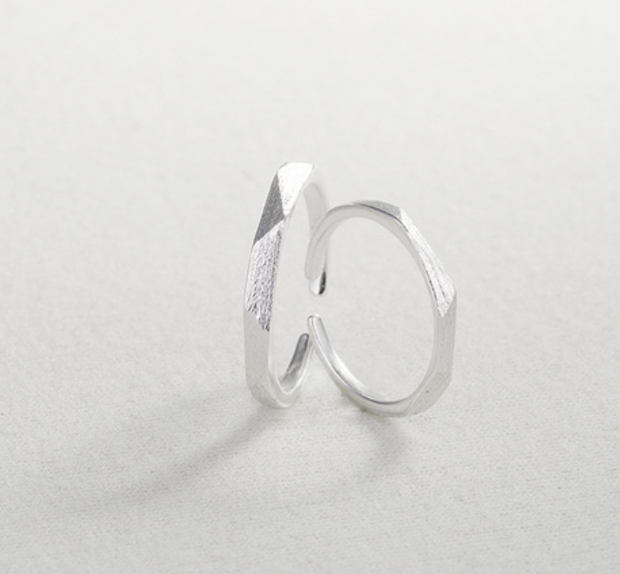 Geometric Brushed Silver Ring - Large