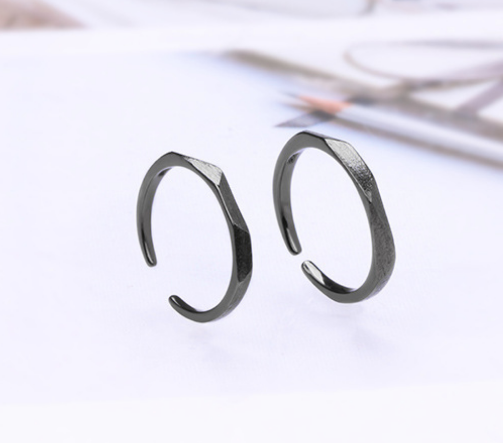Geometric Brushed  Black Ring - Small