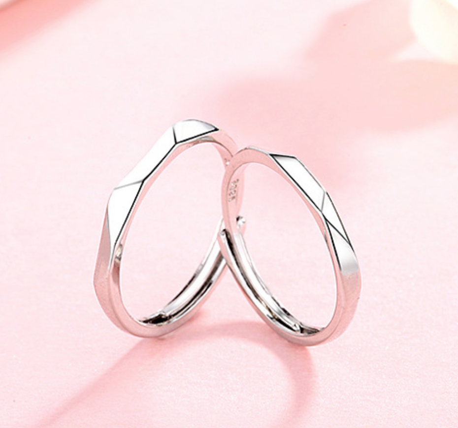 Geometric Shiny Silver Ring - Large