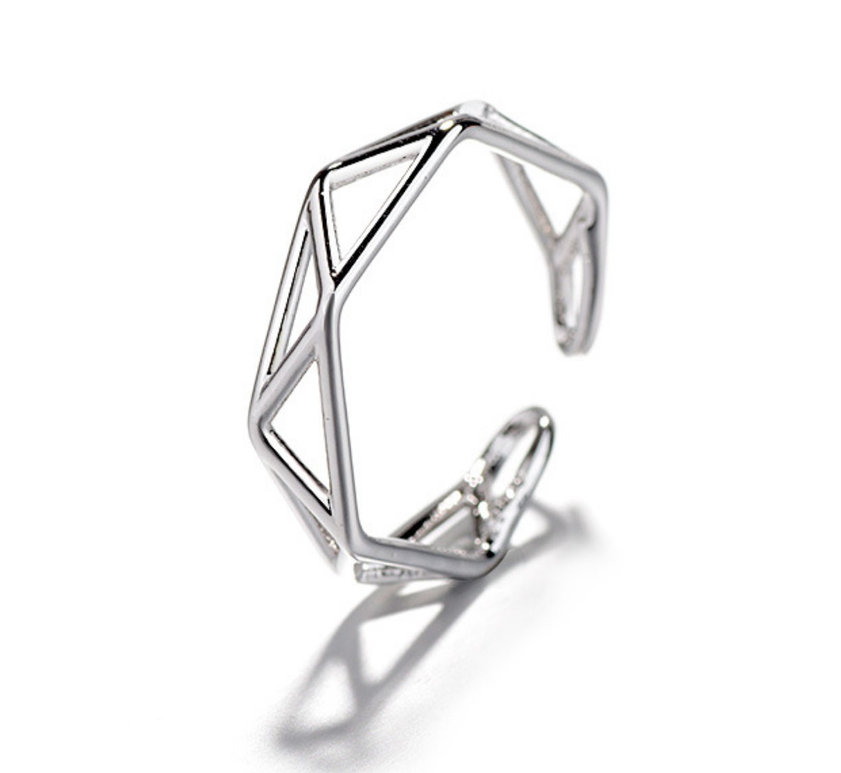 Triangles Silver Ring