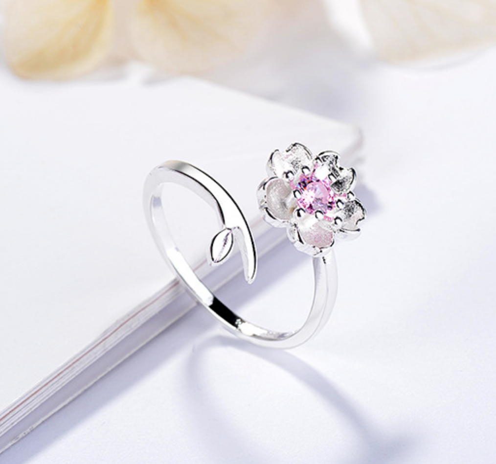 Pink Crystal Flower with Leaf Ring