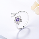 Purple Crystal Flower with Leaf Ring