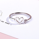 Heart Outline with Crystal Ring
