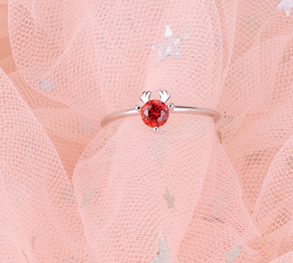 Red Crystal Deer Ring