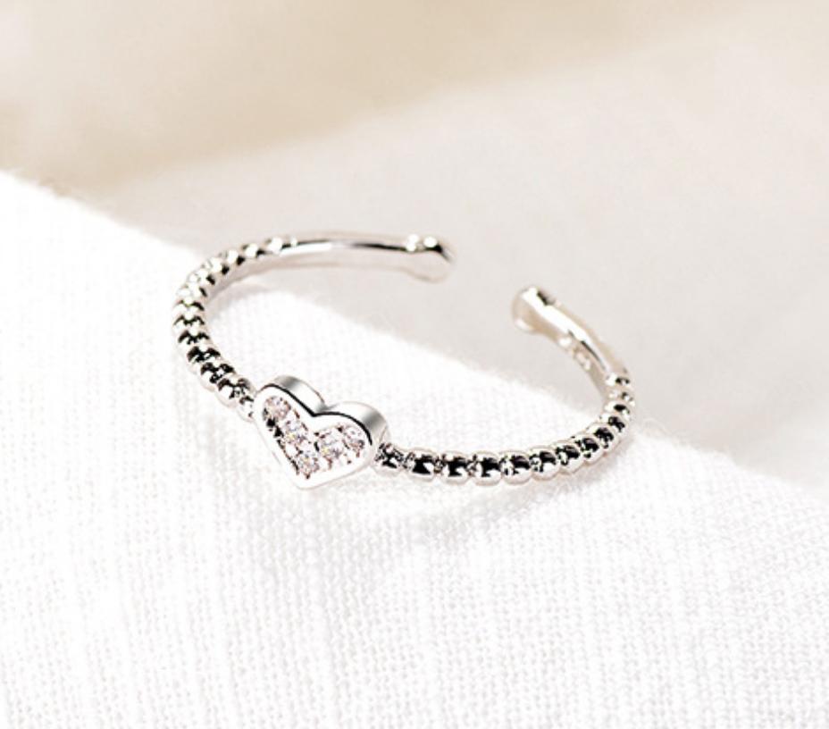 Sparkle Heart Beaded Ring