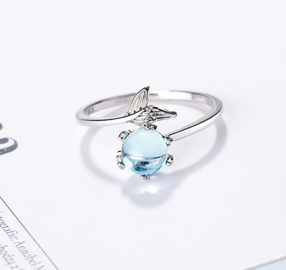 Mermaid Blue Glass and Tail Ring