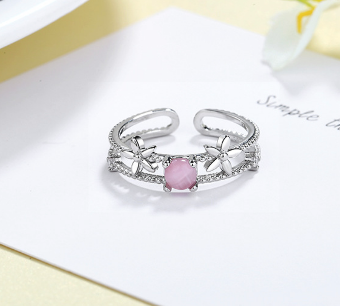 Flower and Pink Glass Ring
