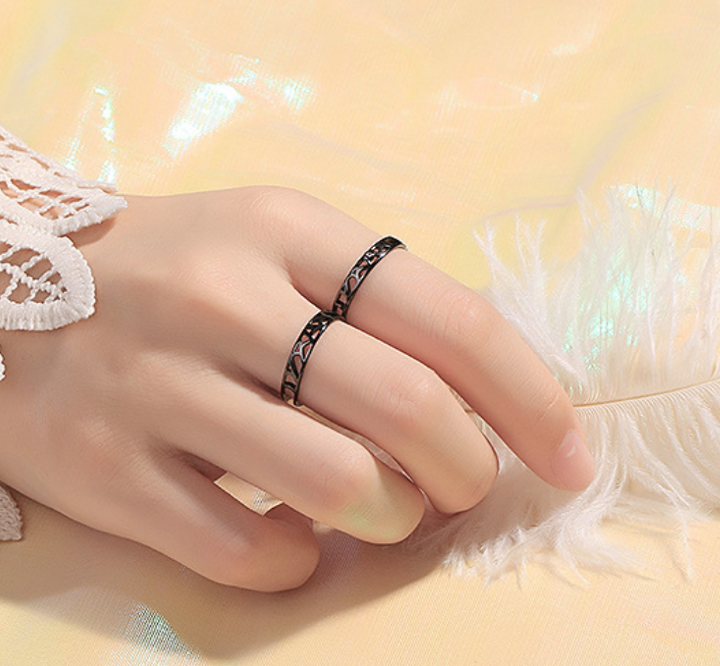 Black Web with Crystal Ring
