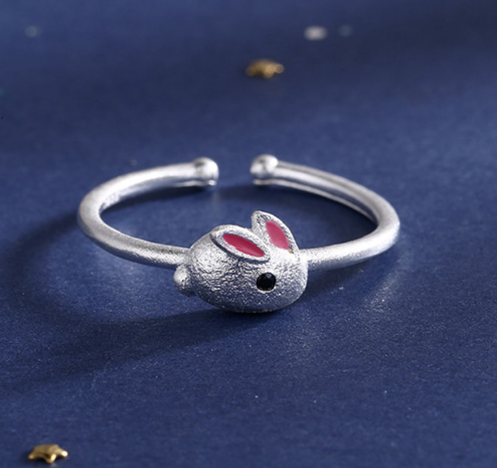 Rabbit with Pink Ears Ring