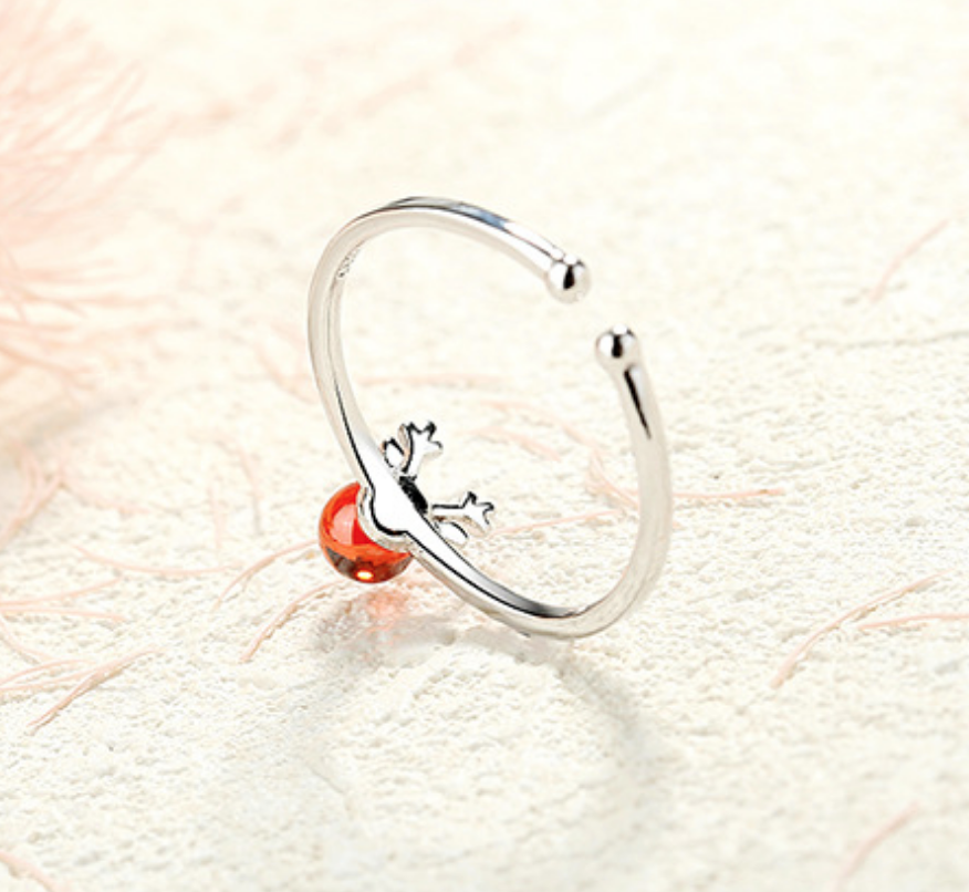 Red Glass Deer Ring