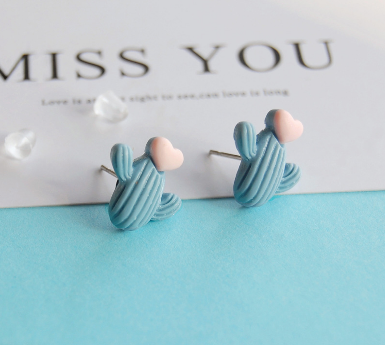 Blue Cactus Heart Earring