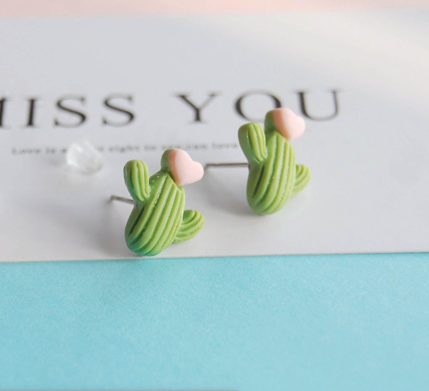 Green Cactus Heart Earring
