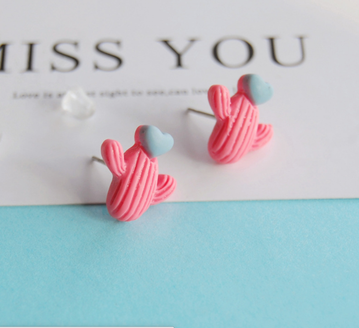 Hot Pink Cactus Heart Earring