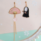 No Face Pink Heart Dangle Clip On Earring