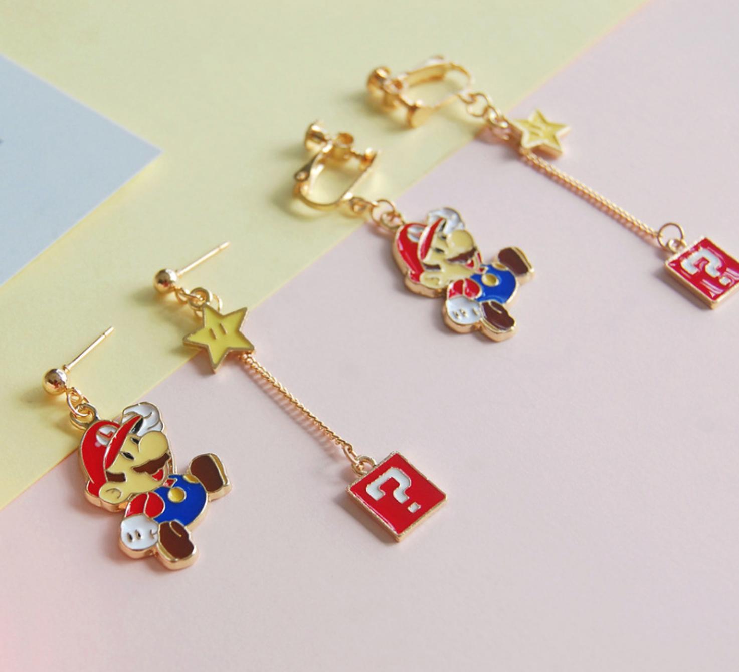 Super Mario Dangle Clip On Earring