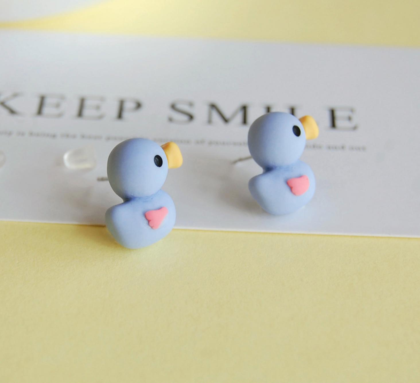 Blue Duck Earring