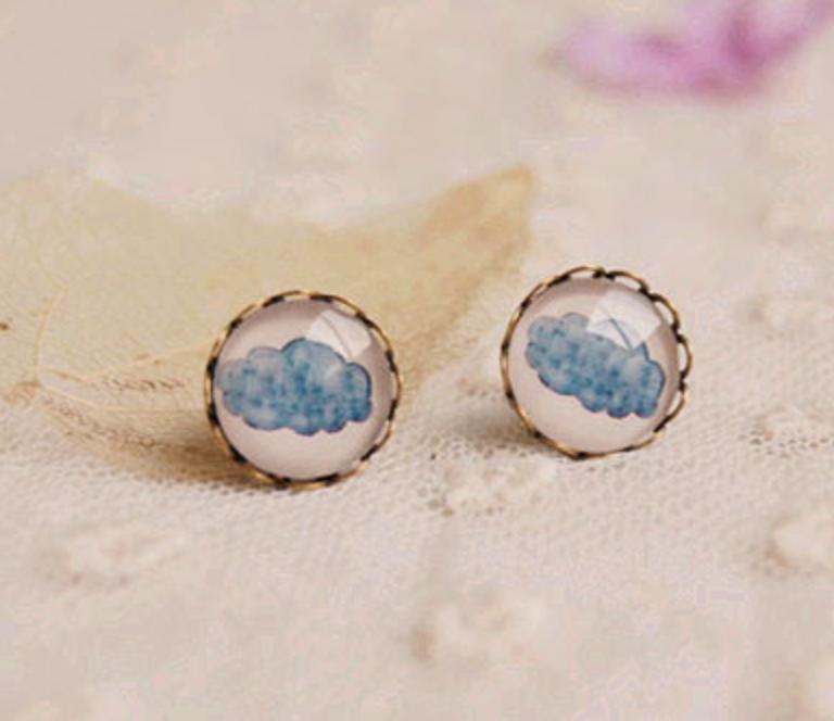 Blue Cloud Earring
