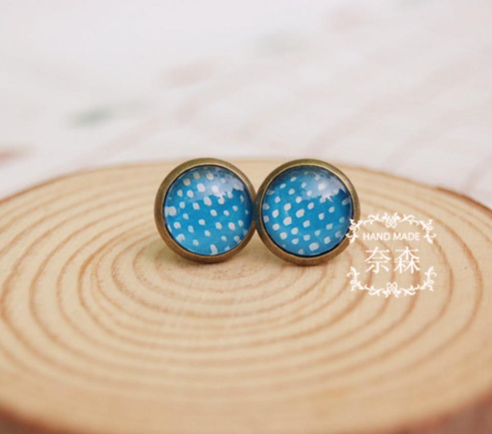 White Dot on Blue Earring