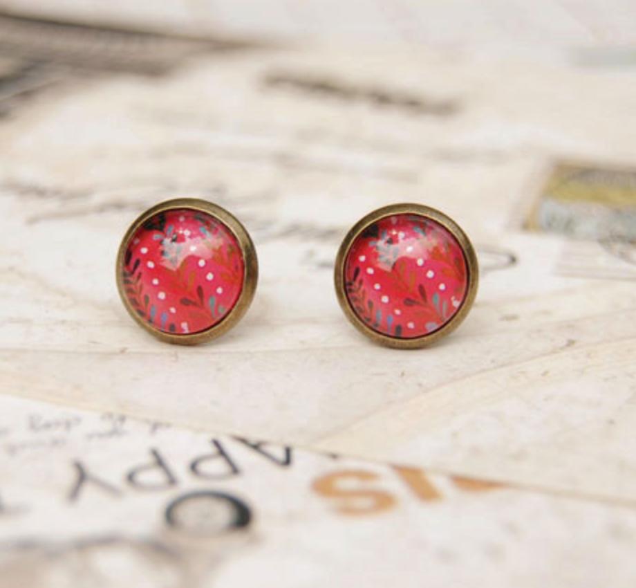 Pattern on Red Earring
