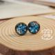 Blue Flower on White Earring